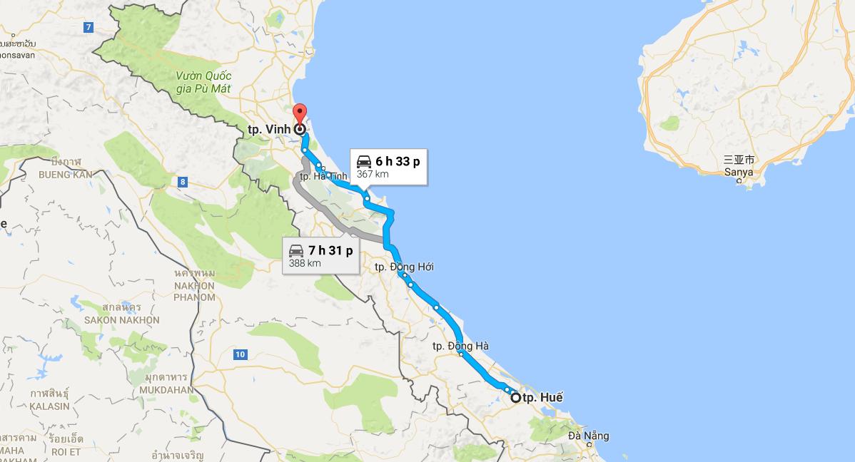 Từ Huế đi Vinh bao nhiêu km