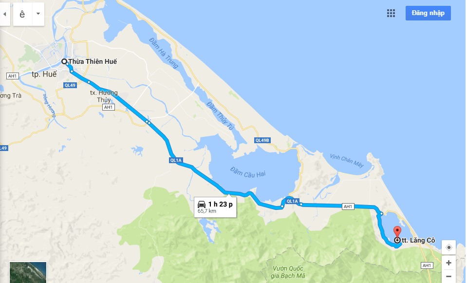 Đường đi Từ Huế đến Lăng Cô