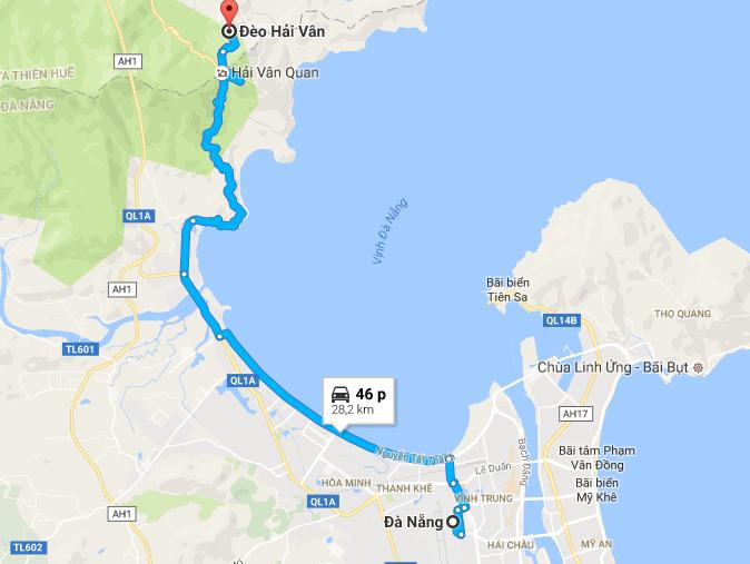 Từ Đà Nẵng đi đèo Hải Vân bao nhiêu km