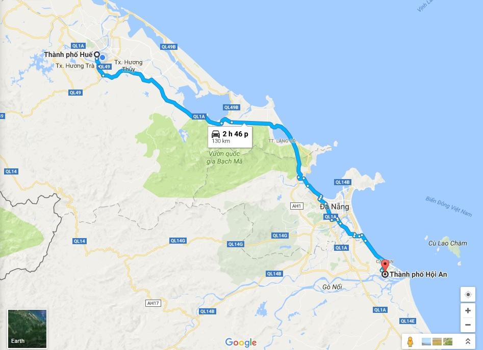 Từ Huế đi Hội An bao nhiêu km tu Hue di hoi an bao nhieu km