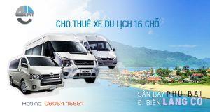 Giá thuê xe 16 chỗ sân bay Huế đi biển Lăng Cô | Thue xe 16 cho san bay Hue di bien Lang Co