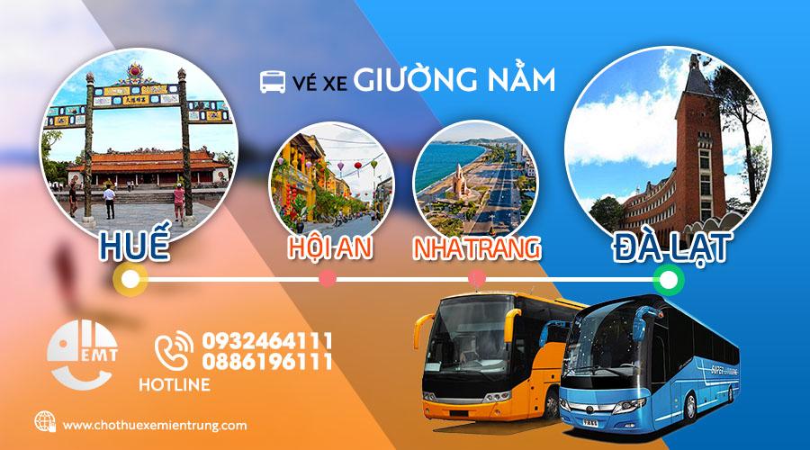 Giá vé xe khách từ Huế đi Đà Lạt (Ghé Hội an – Nha Trang)
