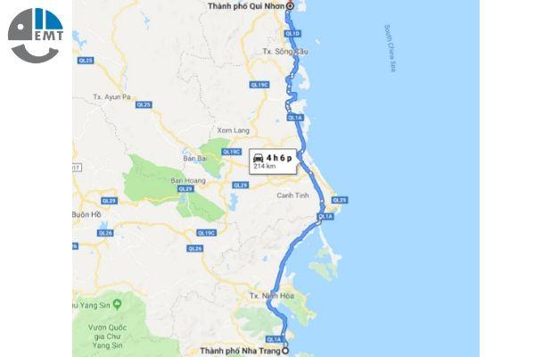 Khoảng cách từ Nha Trang đến Quy nhơn bao nhiêu km