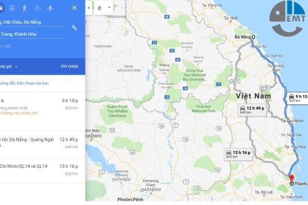 Từ Nha Trang đi Đà Nẵng bao nhiêu km? Có phải từ 500 – 533 Km?